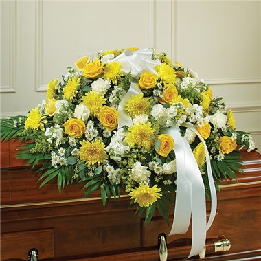 yellow amp white mixed half length casket cover pinners